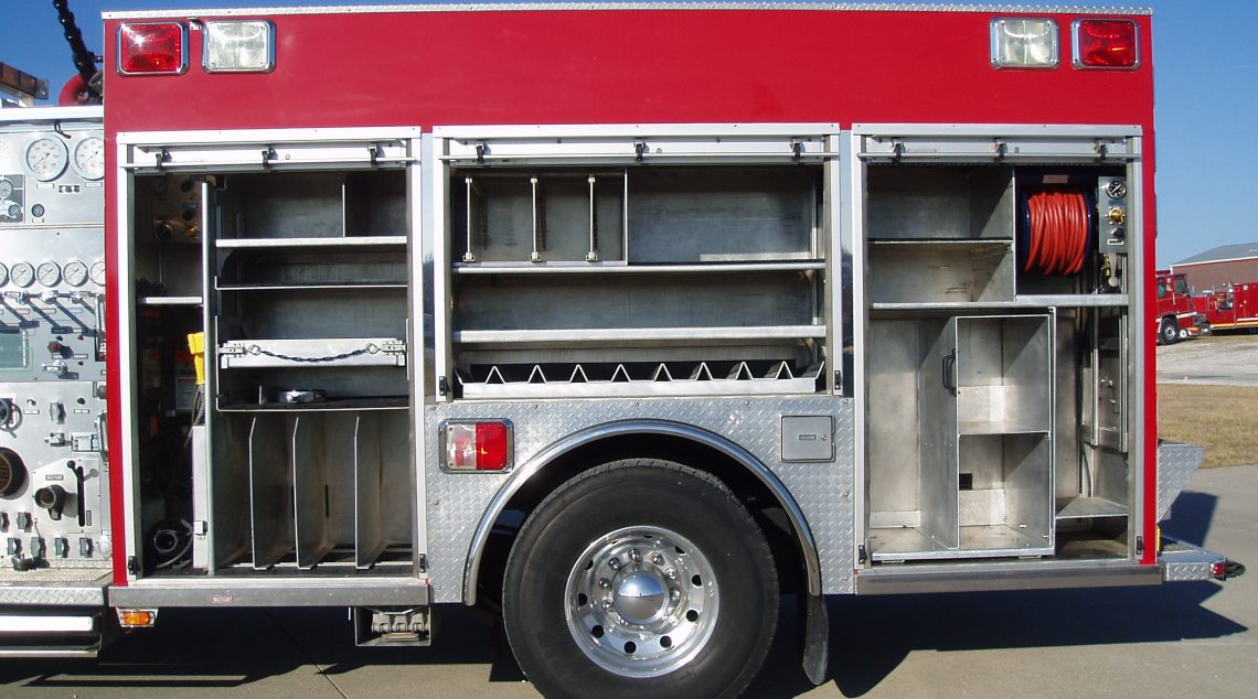 1994 Saulsbury Custom Rescue Pumper side storage and control panel