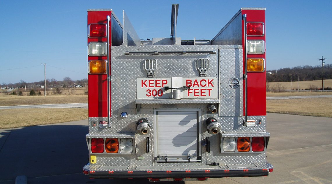'94 Rescue Pumper rear view with closed storage and rear lights