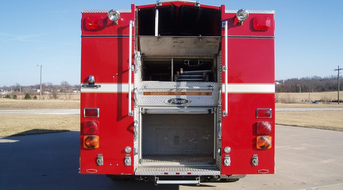 Pierce Quantum Rescue Truck rear view and storage