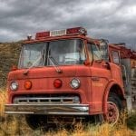 Old fire truck in the mountains