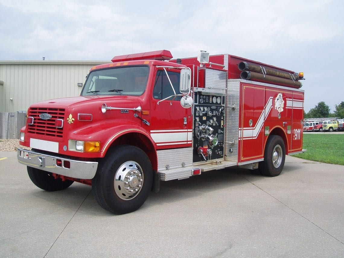 Full view of 2-door Pierce pumper fire truck