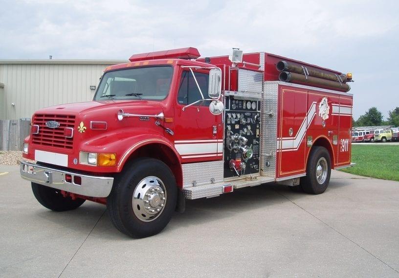 Full view of 2-door Pierce pumper fire truck