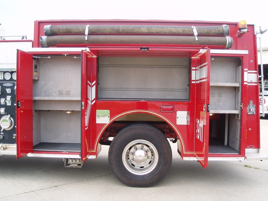 Left side of Pierce pumper truck