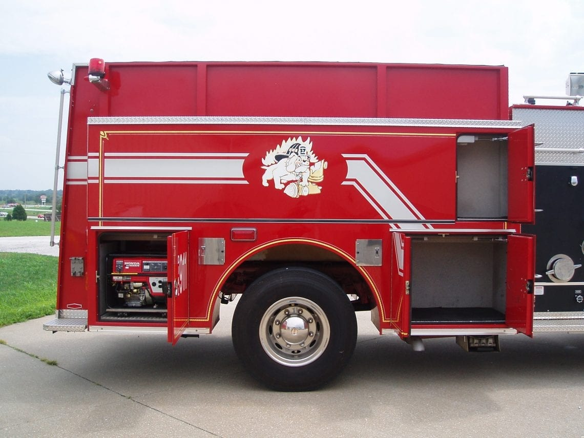 back end of 2-door Pierce pumper